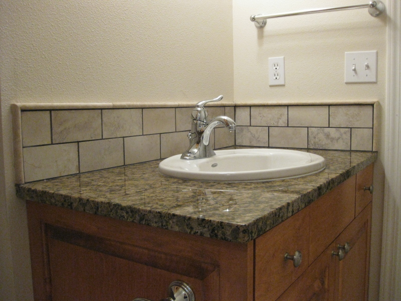 porcelain sink backsplash